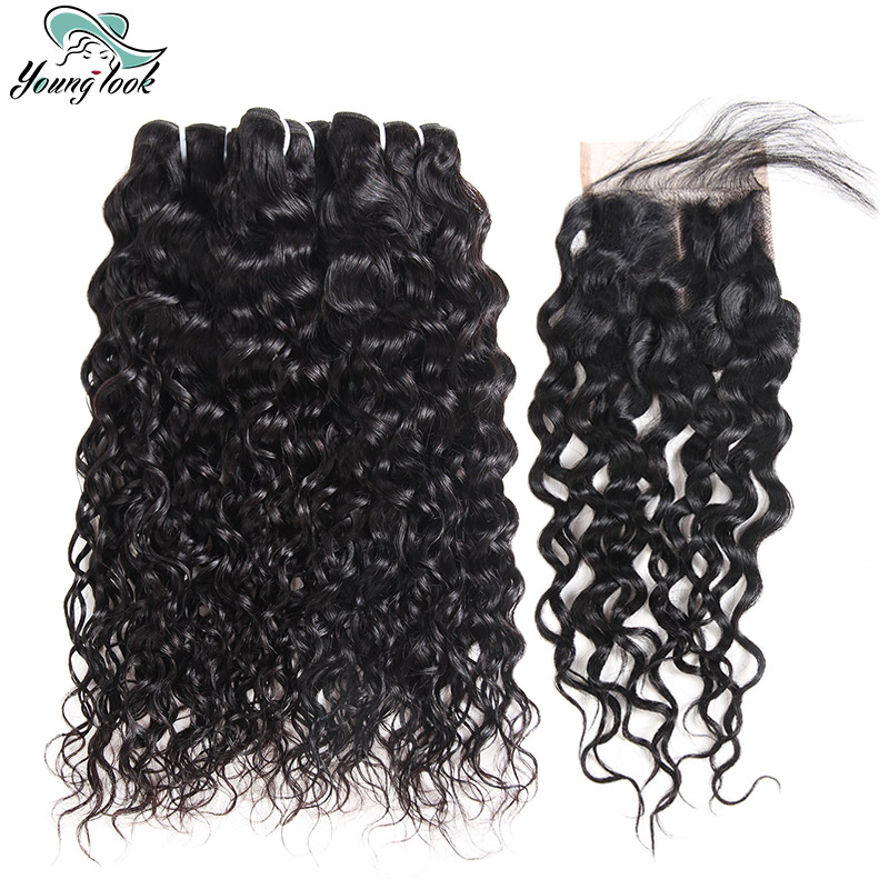 Young Look Water Wave Peruvian Non Remy Hair With Free Closure 4*4 Free Part Human Hair 3 Bundles With Lace Closure For Woman