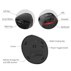Image 4 - Delux M618Mini GX 2.4GHz Wireless Vertical Mouse 6 Button 1600 DPI Ergonomic Design Computer Mini USB Mice For Windows Laptop PC