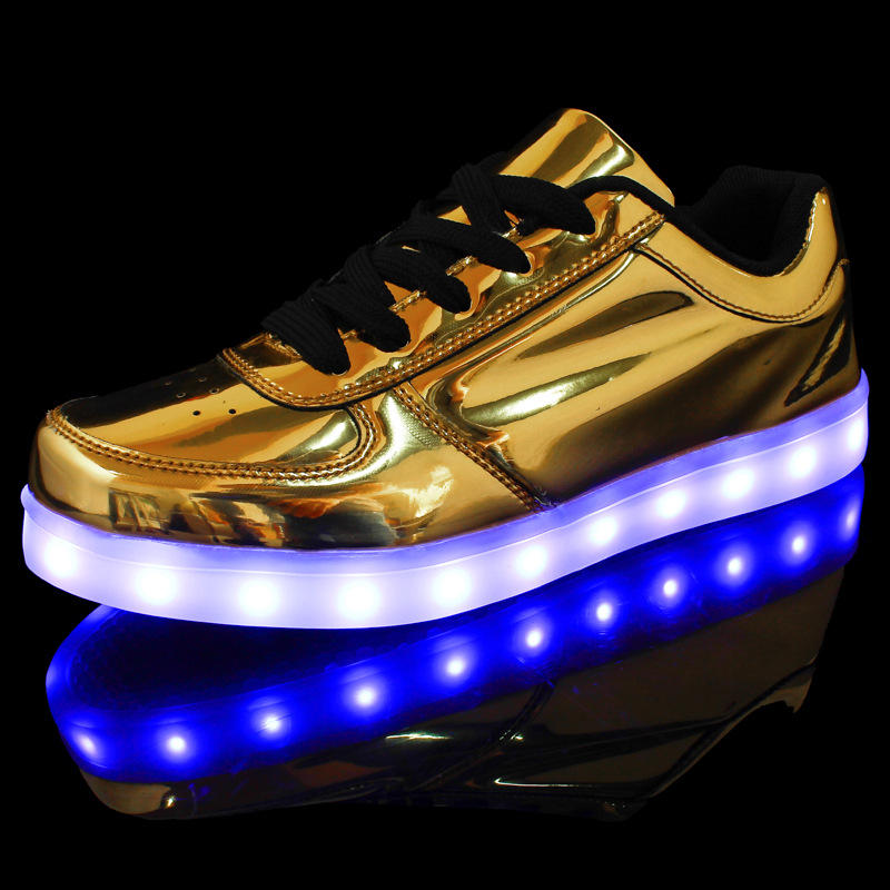 6ba814286 Low help classic foreign trade new golden silver light led luminous shoes  USB charging star with flash shoes-in Men s Casual Shoes from Shoes on ...