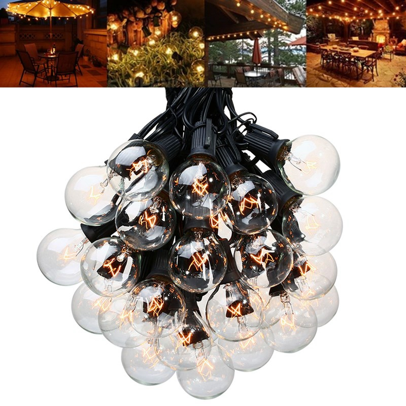 25ft String Holiday Light with G40 Globe Clear Bulb for Backyard Patio Lights Vintage Bulbs Decorative Outdoor
