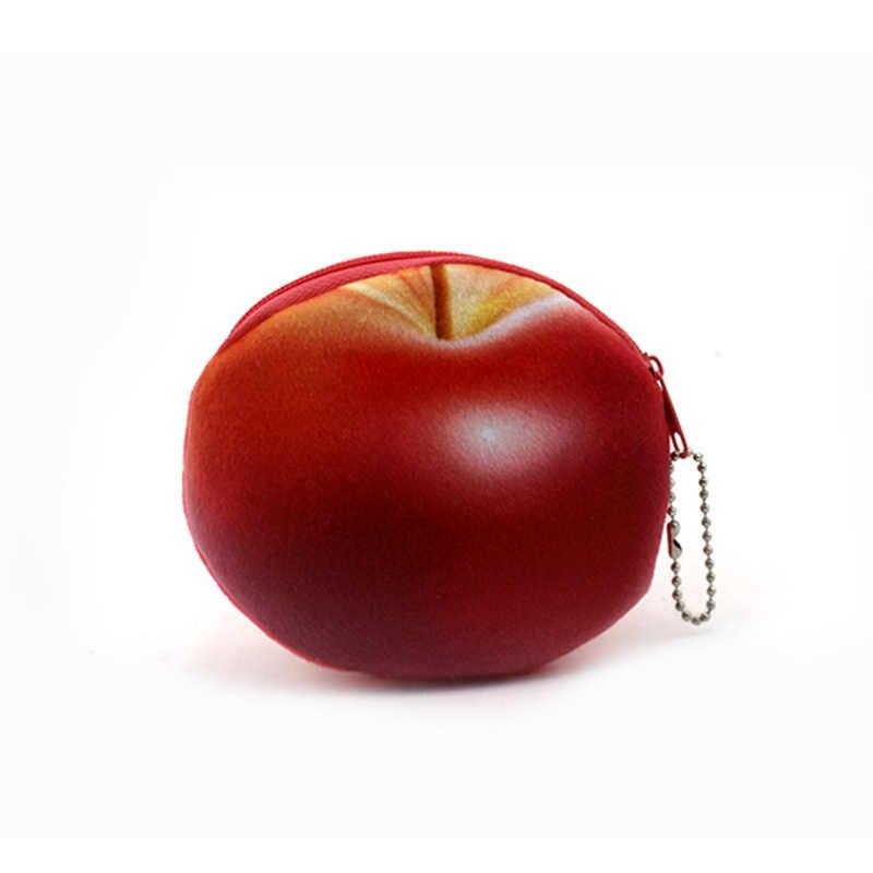 Titulares de Frutas de Impressão 3D Mulheres Crianças Meninas Algodão Coin Bolsas Zipper Caso Saco de Dinheiro Bolsa Crianças Pequenas Carteiras Moeda Bancária
