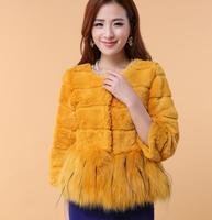 2015 Winter Hot Selling Long Striped Fur Coat Luxury Fox Fur Coats Women Designer Fashion Elegant