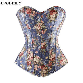 Basic Corset Top Flower Pattern Summer Cotton Corselet Outerwear Busk & Lacing Shirt Fancy Party Dress Floral Denim Basque Shape - DISCOUNT ITEM  0% OFF All Category