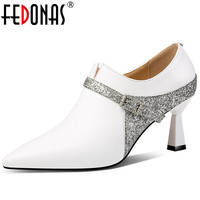 FEDONAS Fashion Women Genuine Leather Pumps Glitters Party Wedding Shoes Woman High Heels Pointed Toe Prom Pumps Spring Shoes