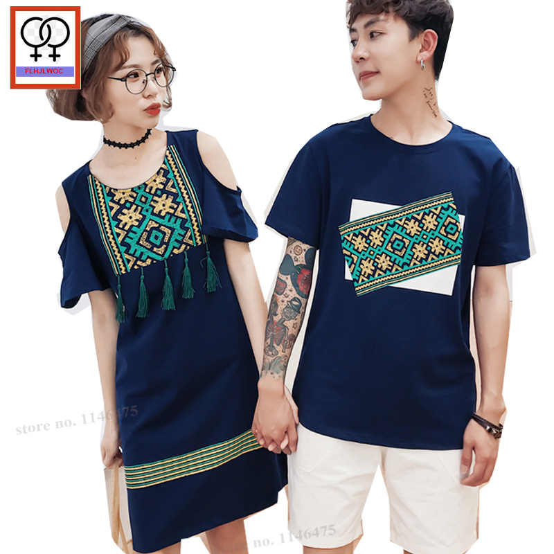 d719c8ce6319 Off Shoulder Dress Matching Couple Clothes Lovers Holiday Honeymoon  Valentine s Gift Boyfriends Girlfriends Tassel T Shirt