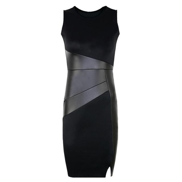 5XL Fall Plus Size Party Dress Women Faux Leather Splice OL Black Pencil Dress O Neck Sleeveless Elegant Slim Bodycon Dress 2019