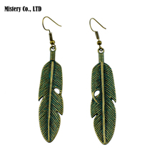 8cm Long Vintage Antique Green Bronze Brass Color Carved Feather Earrings Indian Jewelry For Women