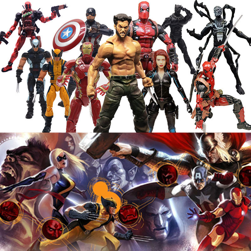 Marvel Legends Action Figure Pizza Spiderman Spider Man Wolverine Deadpool Wade Winston Model Toys for Christmas New Year Gift figma x man series spiderman figure no 001 revoltech deadpool with bracket no 002 revoltech spider man action figures