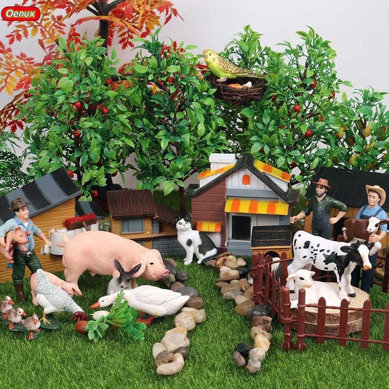 Oenux Kids Toy Figurine Animals-Model Simulation-Farmer Miniature Pig Hen-Horse-Bird