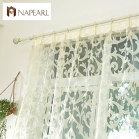 European Style Leave Design Modern Curtain Sheer Panel Tulle For Window Bedroom Living Room Kitchen White