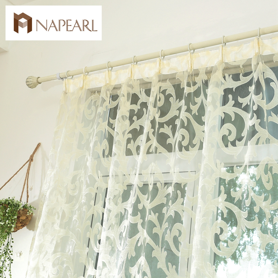 NAPEARL 1 Piece European Style Leave Design Modern Curtain Sheer Panel Tulle For Window Bedroom Living Room Kitchen White Drapes