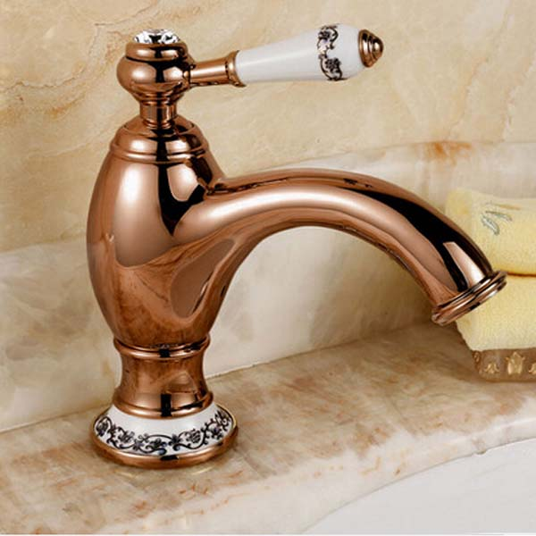 Luxury Single Lever Bathroom Basin Faucet Rose Gold Vessel Vanity Sink Mixer Tap rose gold finish luxury bathroom basin faucet with diamond vanity high sink mixer water tap