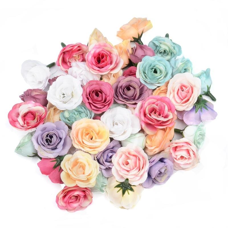 50 шт. 2 см Шелковая Мини Роза, искусственный цветок на голову для свадьбы, вечеринки, дома, украшение для комнаты, Свадебные шляпы, аксессуары,...