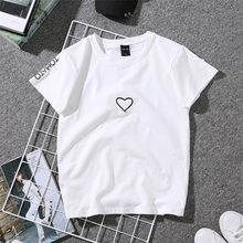 2018 Summer Couples Lovers T-Shirt For Women Casual White Tops Tshirt Women T Shirt Love Heart Embroidery Print T-Shirt Female(China)