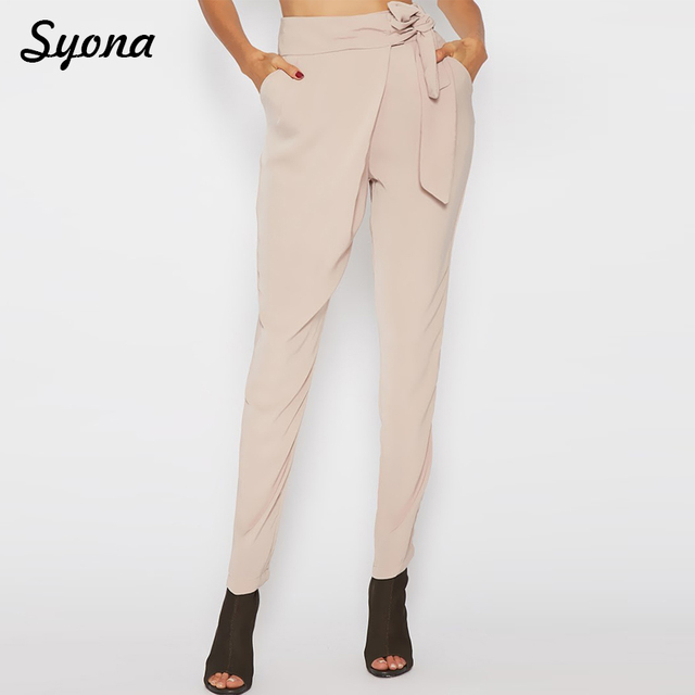 Long Pencil PANTS Formal Work OFFICE Lady Women Wear High Waist Tie Belt Beige Trousers Elegant Pantacourt Femme Pantaloons Slim