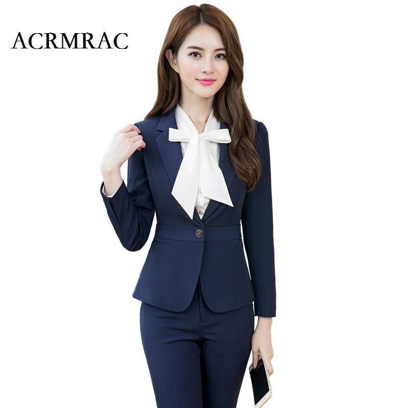 ACRMRAC Women Long sleeves Regular Solid color Slim Single Button Business OL Formal Pant Suits Workwear