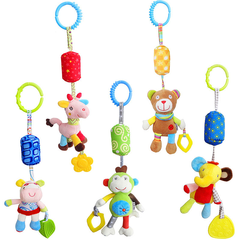 Cartoon Animals Baby Rattles Mobiles Toy Hand Bell Windbell With Safe Teether Crib Stroller Baby Bed Hanging Plush Toy Rattles