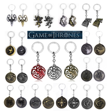 SG Hot Sale TV Game of Thrones Keychains Wolf Dragon House Stark Targaryen A Song Of Ice And Fire Souvenirs Men Keyring Gift cool movies game of thrones wallets targaryen blood and fire dragon wallets for women men mini wallet and purse billeteras wolf