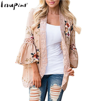 INUPIAT Fashion Women S Shirts Casual Style Floral Print Open Stitch Shirt For Female Puff Sleeve