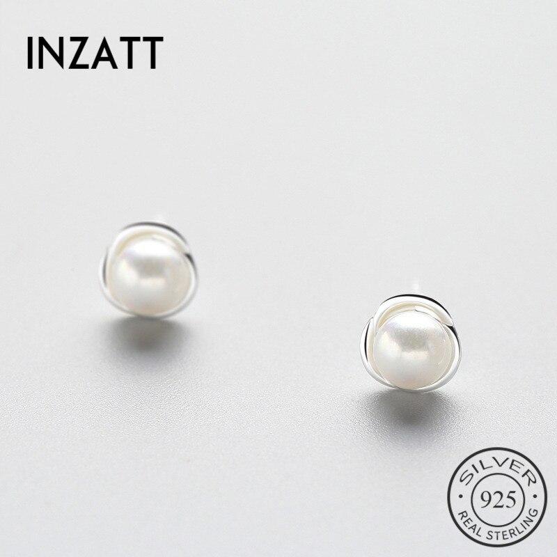INZATT Romantic Real 925 Sterling Silver Freshwater Pearls Stud Earrings Trendy Flower Accessories For Women Wedding  Jewelry