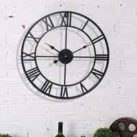 40/47CM Nordic Metal Roman Numeral Wall Clocks Retro Iron Round Face Black Gold Large Outdoor Garden Clock Home Decoration