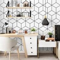 Estilo nórdico papel de parede ins tv fundo preto e branco verificador geometria quarto sala de estar moderno e minimalista papel de parede líquido