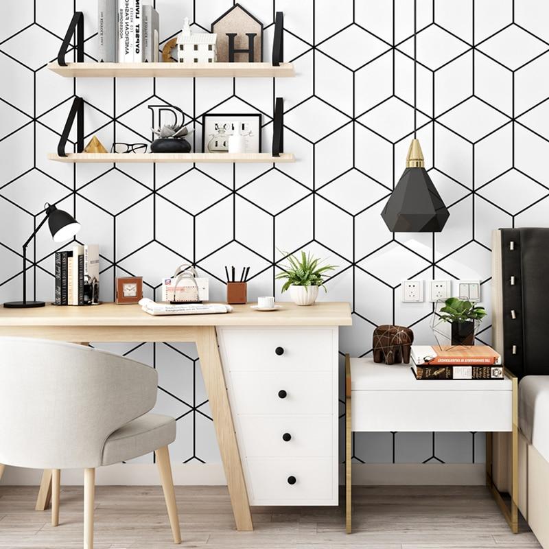 Nordic Style Wallpaper Ins TV Background Black-and-white Checker Geometry Bedroom Living Room Modern Minimalist Net Wallpaper