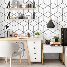 Nordic style wallpaper ins TV background black-and-white checker geometry bedroom living room modern minimalist net