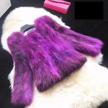 Цвет градиента природных енотовидная собака мех пальто женщин осень зима новый короткий дизайн мех пальто верхняя одежда женская куртка g9278