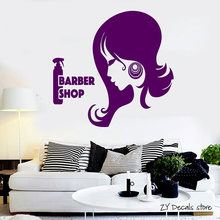 Barber Shop Wall Decals Woman Hair Stylist Beauty Salon Mural Woman Hair Stylist Beauty Salon Wall Stickers Art Mural L385(China)