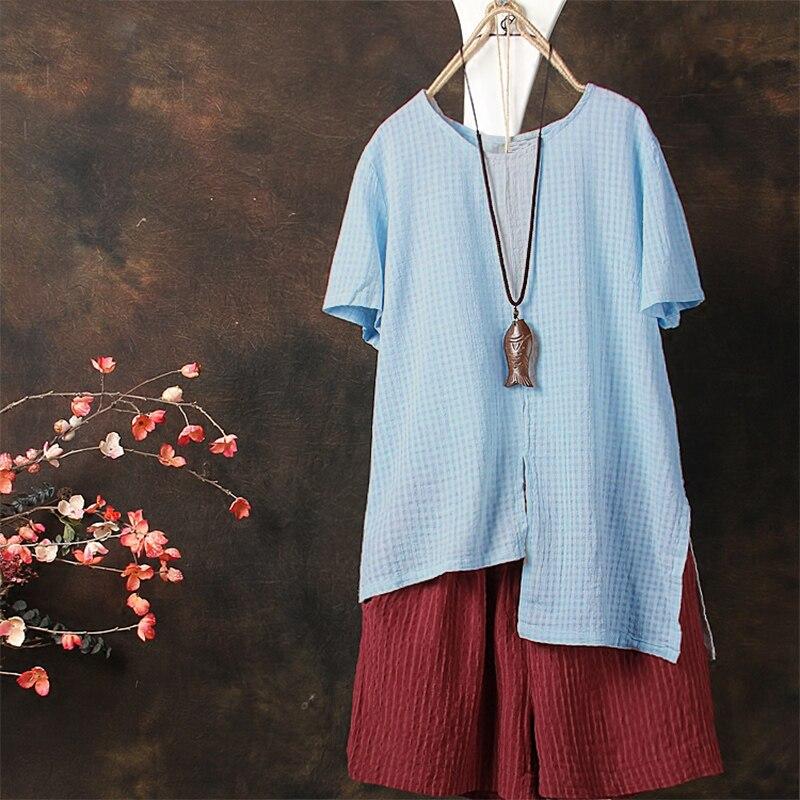 ZANZEA Fashion 2018 Summer Women Blouse Short Sleeve Shirt Plaid Irregular Split Blusa Feminina Casual Tops Blusas Plus Size 5XL