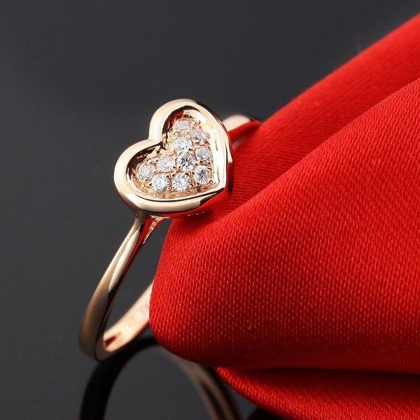 Натуральный кольцо с бриллиантом для Для женщин натуральная 0.06ct/10 шт. алмаз SOLID 18 К розовое золото обручальные Обручение кольца гравировкой
