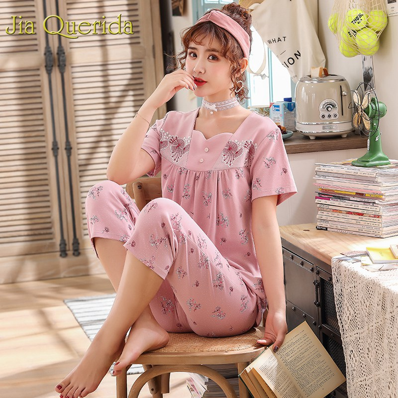 Pyjamas Women 2019 Summer Plus Size Pajamas Pink Floral Cotton Lingerie Chic Collor Lace Applique Cotton Shorts Pijama Mujer Set