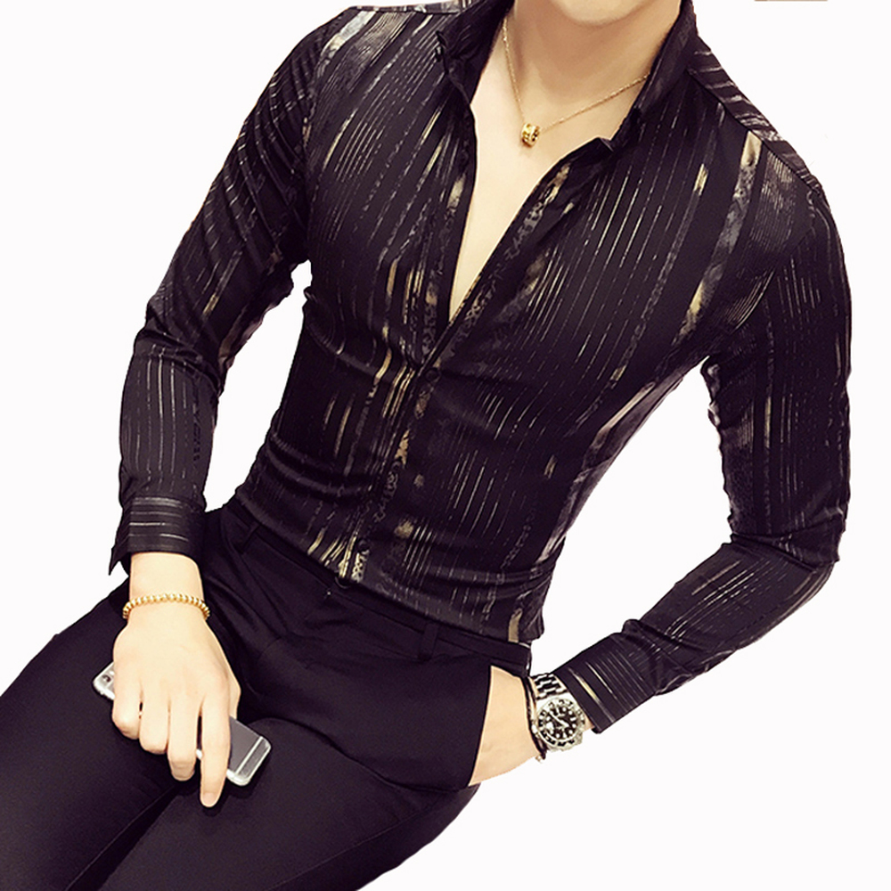 Luxury Gold Shirt Men 2018 New Long Sleeve Black White Navy Red Party Club Sexy Night Club Bar Stage Clothing Male Shirt