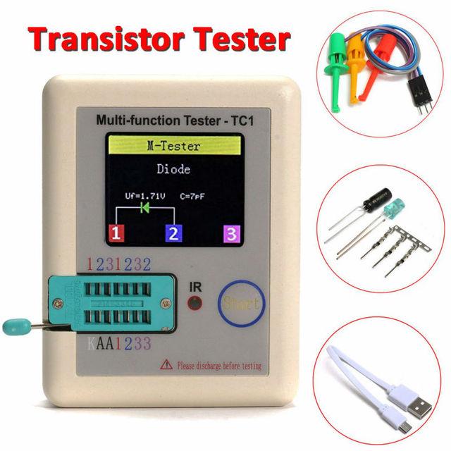 2016 T1 Novo Transistor Tester Diode Triode Capacitância TFT Medidor de ESR LCR meter NPN PNP MOSFET IR Multifunções testador multímetro