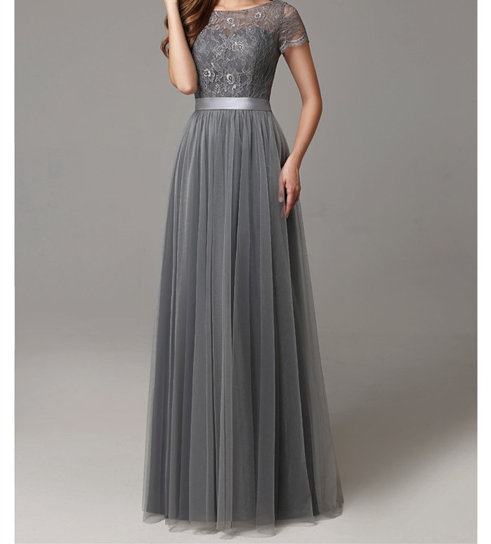 Online get cheap gray bridesmaid dresses for Gray lace wedding dress