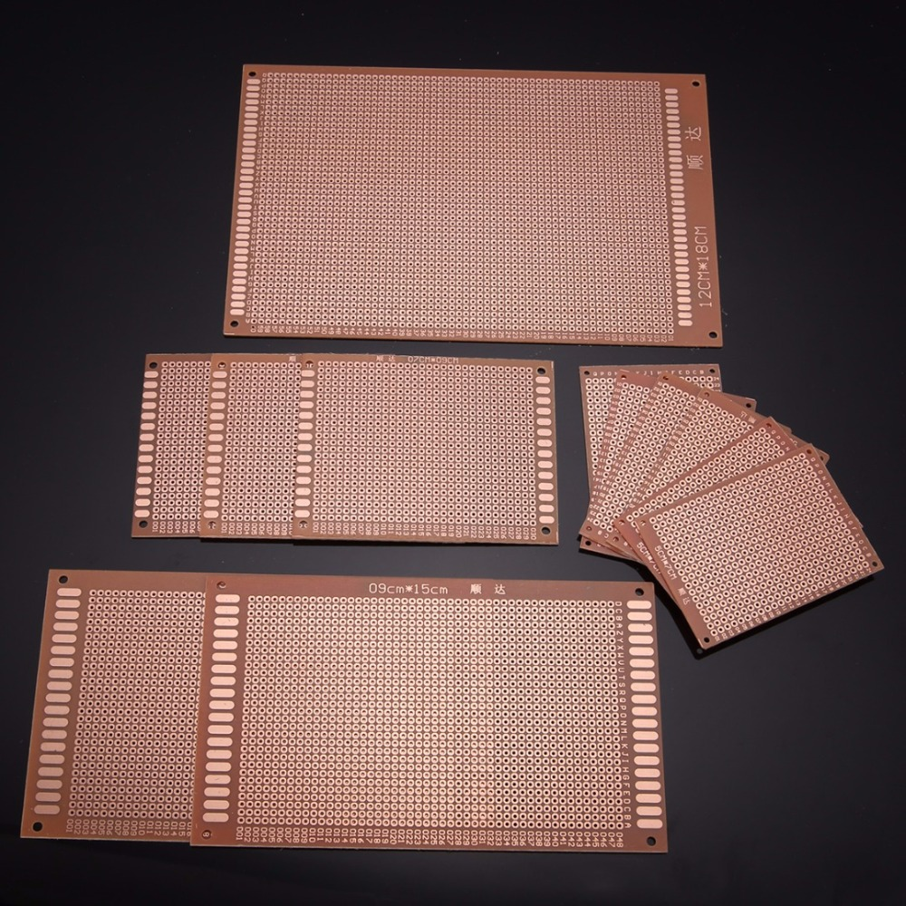 12pcs Diy Pcb Prototyping Board 4 Sizes Mayitr Printed Circuit Artwork Stripboard And Breadboard Layout Prototype 12 X18 9x15 7x9 5x7 Cm