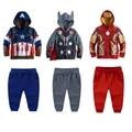 Varejo Novo Conjunto de Roupas de Bebê Meninos das Crianças os Vingadores Super hero capitão américa menino hoodies casacos + calça esporte dos miúdos terno