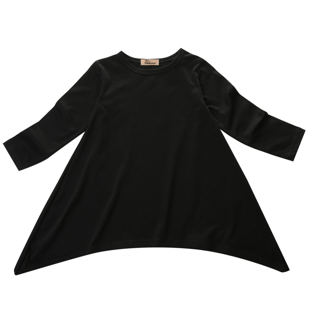 Black dress for baby girl - Fashion Baby Girls Kid Spring Swing Max Batwing Full Dress Black O Neck Loose Asymmetric Party