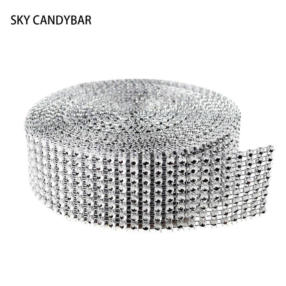 Небесно-моноблок 1.55 «x30 футы серебра с бриллиантами сверкают стразами обертывания ленты Свадебный декор дома Бесплатная доставка