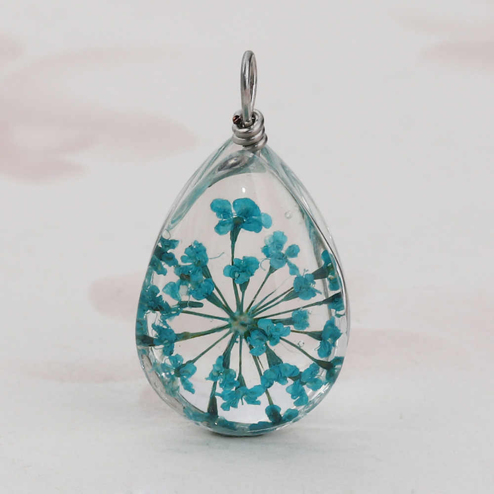 "DoreenBeads Glass & Dried Flower Charms Pendant Water Drop Blue Transparent 25mm x13mm(1"" x 4/8"") - 24mm x13mm(1"" x 4/8""), 2 PCs"