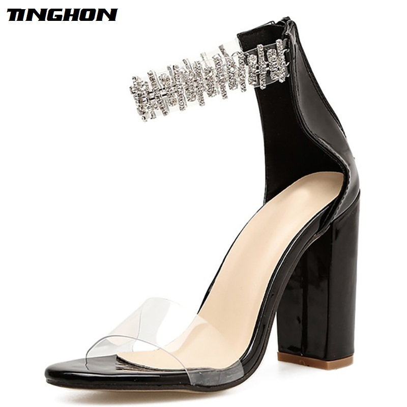 TINGHON Summer Yellow Sandals Ankle Strap Crystal Pumps Fashion Buckle Strap High Heels Lady Sandals Shoes zapatos mujer in High Heels from Shoes