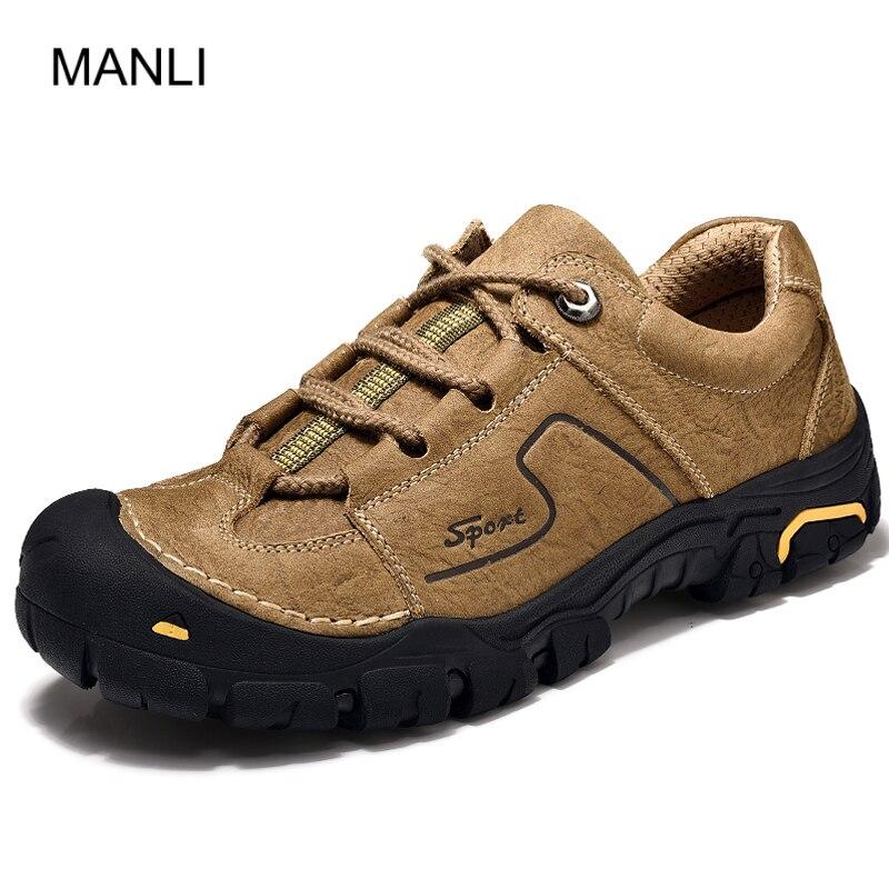 MANLI chaussures de trekking pour hommes chaussures de montagne antidérapantes confortable en cuir véritable baskets d'extérieur pour hommes marche trekking