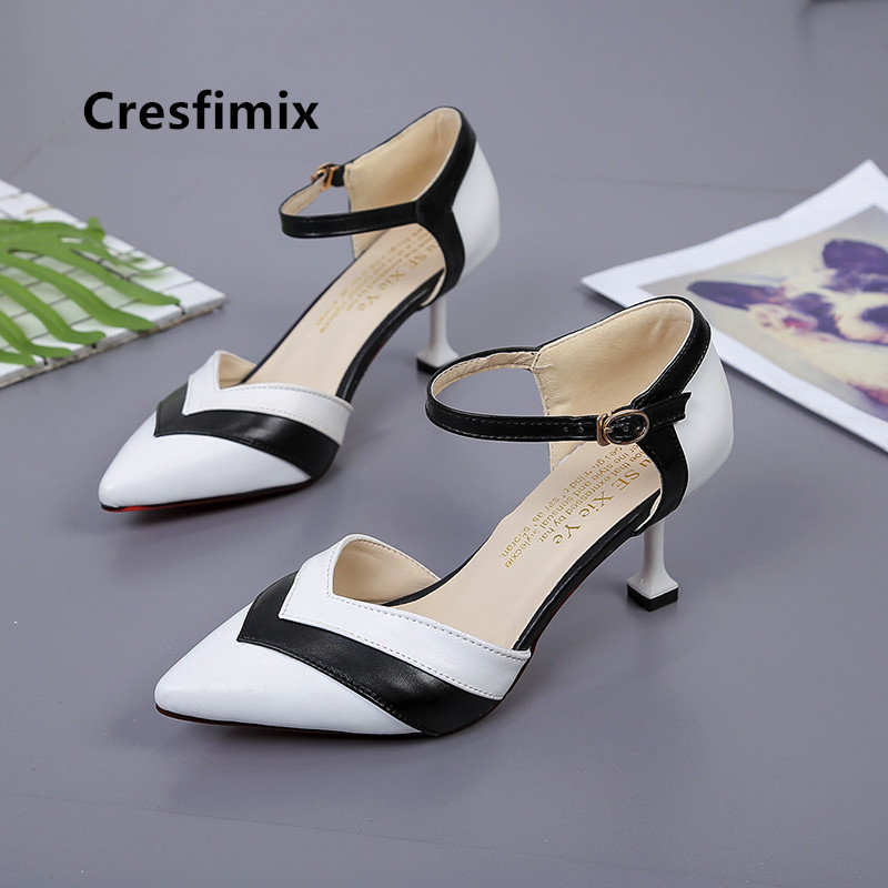 Bombas De Mujeres Women Cute Black & White Pointed Toe High Heel Shoes Lady Office Pu Leather High Heels Fashion Shoes E5220