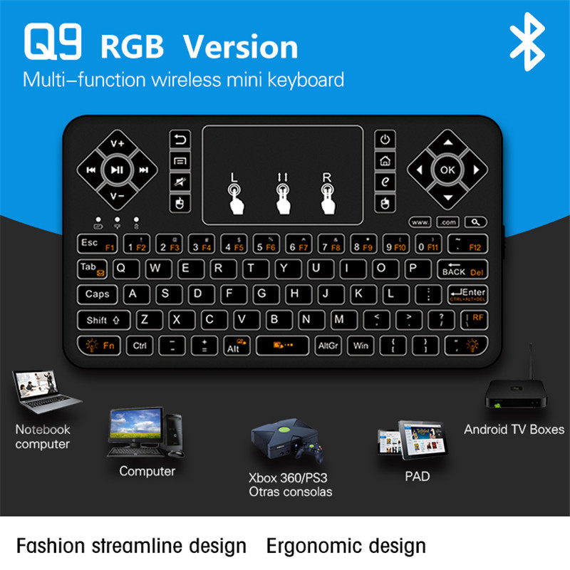 3043fee0d6f Mini Wireless Backlit Keyboard bluetooth Touchpad Keyboard RGB Fly Air Mouse  Remote Control for Android TV