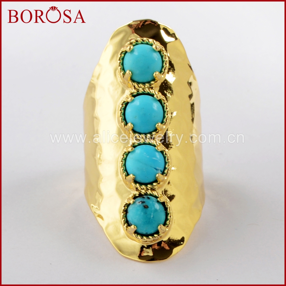 BOROSA 5PCS Round Four Natural Tur-quoise Band Ring Druzy Bezel Claw Blue Stone Ring for Women Jewelry ZG0337