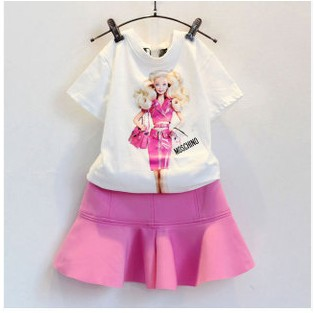 New Girls Baby golden hair modern girl short sleeve T-shirt + tutu skirt Suit Children 2 pcs set wholesale