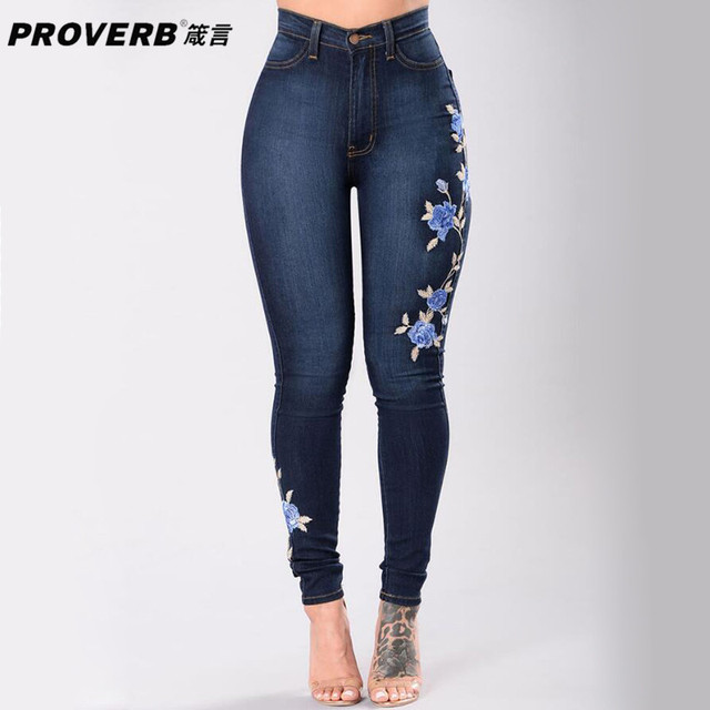 7b13556edf81f PROVERB Spring Vintage Plus Size Women Floral Embroidery Jeans High Waist  Ladies Skinny Royal Blue Pants Jeans Legging Trousers