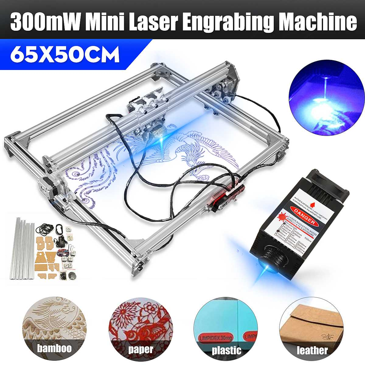 300mW 405nm Focusable Blue Violet Laser Module DIY Mini Desktop Laser Head Engraving Module For Engraver Printer/Cutter Machine