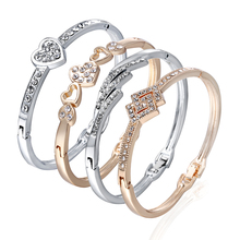 12 styles Women Girls Bracelets Rose Gold Silver Hollow Inlay Crystal Heart Carve Shaped Bangle Bracelet Zinc Alloy Woman Gift
